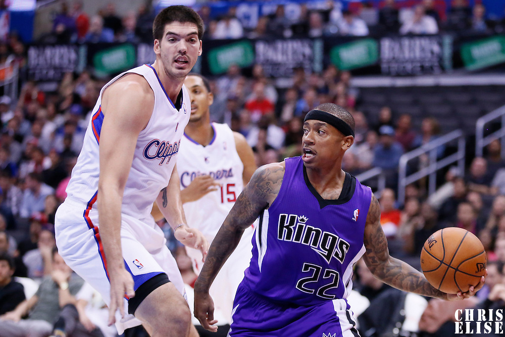 25 October 2013: Sacramento Kings point guard Isaiah Thomas (22) looks to pass the ball during the Sacramento Kings 110-100 victory over the Los Angeles Clippers at the Staples Center, Los Angeles, California, USA.