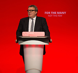 © Hugo Michiels Photography. 26/09/2017. Brighton, UK. Member of parliament for West Bromwich East and Deputy leader of the Labour party TOM WATSON speaks at the 2017 Labour Party Conference in Brighton.Photo credit: Hugo Michiels Photography