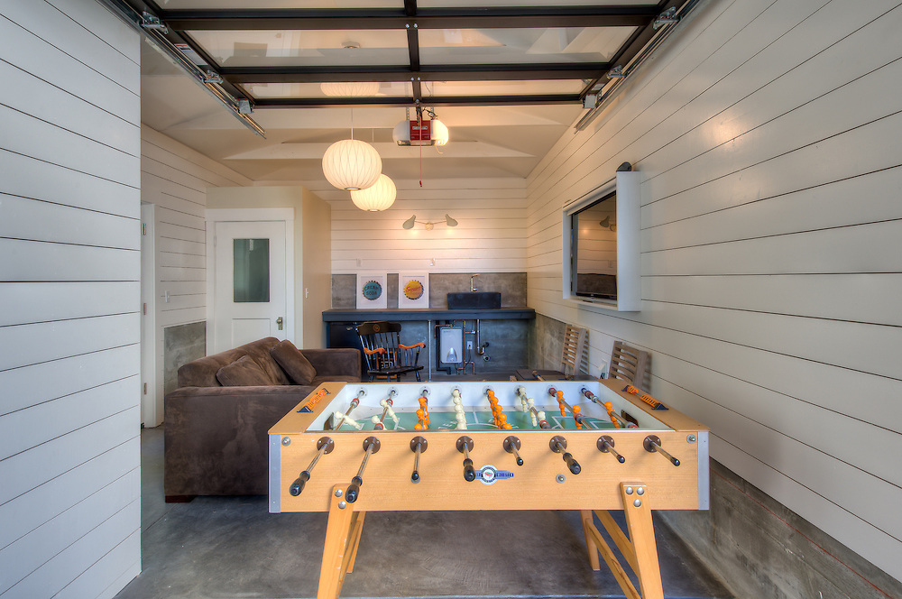 Garage remodeled into a recreation room.