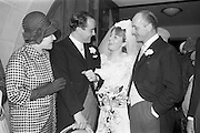 21/04/1964<br /> 04/21/1964<br /> 21 April 1964<br /> Wedding of O'Sullivan - Sturtze at Raheny, Dublin.<br /> Conal O'Sullivan, only son of Mr and Mrs Toddie O'Sullivan, Gresham Hotel Dublin and Miss Vera Sturtze, daughter of Herr and Frau Herman Sturtze of Hamburg and Howth after their marriage at the Church of Our Lady of Divine Grace, Raheny, Co. Dublin. Picture shows the bride and groom (centre) with Mr and Mrs Toddie O'Sullivan after the ceremony.