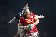 Canadian player Evan Olmstead wins a line out in the first half  during the Rugby World Cup qualifier between Hong Kong and Canada at Stade Delort, Marseilles, France on 23 November 2018. Picture by Ian  Muir.