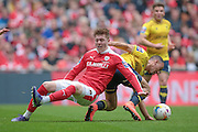 Adam Hammill (Barnsley) is fouled during the Johnstone's Paint Trophy Final between Barnsley and Oxford United at Wembley Stadium, London, England on 3 April 2016. Photo by Mark P Doherty.