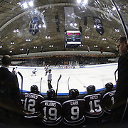Rick Bennett, Union College head coach, (right),  during the Yale Vs Union College, Men's College Ice Hockey game at Ingalls Rink, New Haven, Connecticut, USA. 28th February 2014. Photo Tim Clayton