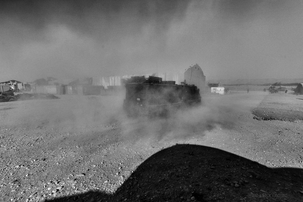 AFGHANISTAN.Bala Morghab. September 2011. An Italian Lince getting goes out from the FOB