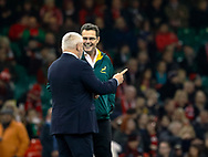 Head Coach Warren Gatland of Wales with Head Coach Rassie Erasmus of South Africa during the pre match warm up<br /> <br /> Photographer Simon King/Replay Images<br /> <br /> Under Armour Series - Wales v South Africa - Saturday 24th November 2018 - Principality Stadium - Cardiff<br /> <br /> World Copyright &copy; Replay Images . All rights reserved. info@replayimages.co.uk - http://replayimages.co.uk