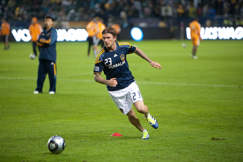 David Beckham of the LA Galaxy warms up before the MLS Cup at the Home Depot Center in Los Angeles, Calif., on November 20, 2011. Los Angeles Galaxy defeated Huston Dynamos 1-0 in the Championship game...©Benjamin B Morris