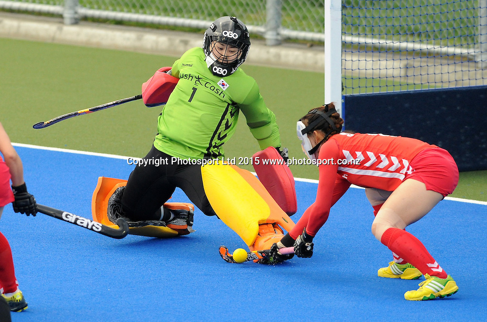 Koreas Jungeun Seo and Goal Keep Soo Ji Jang defend in the Festival of Hockey, New Zealand Womens Black Sticks v Korea, Unison Sports Park, Hastings, Saturday, April 118 2015. Photo: Kerry Marshall / photosport.co.nz