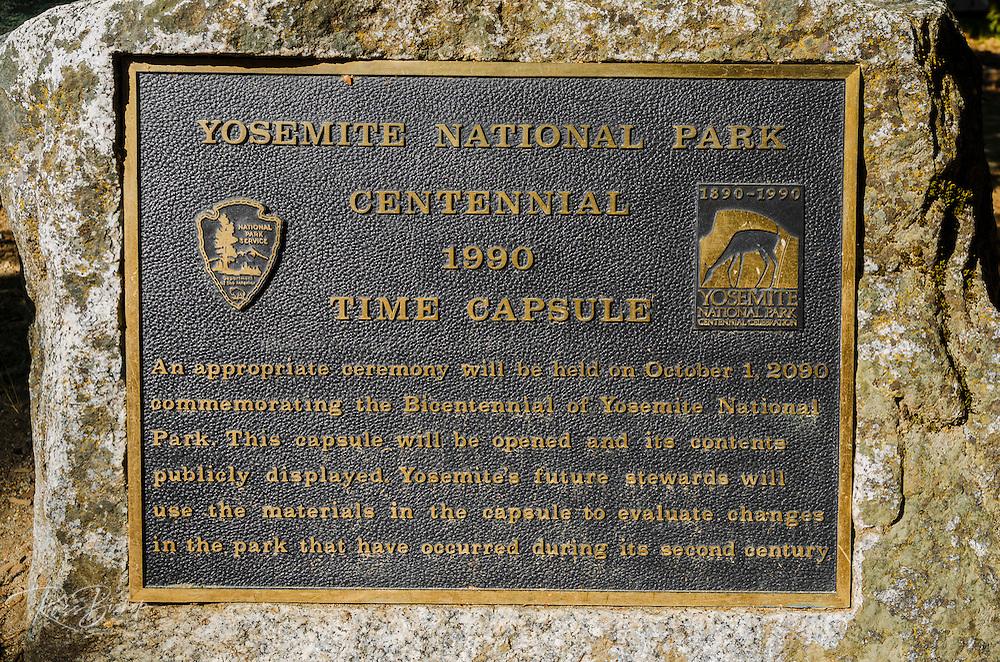 Centennial plaque in Yosemite Village, Yosemite National Park, California USA