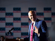 05 DECEMBER 2019 - DES MOINES, IOWA: US Senator CORY BOOKER (D-NJ) waves to people in the crowd during a campaign event in Des Moines Friday. Senator Booker is running to be the Democratic nominee for the US Presidency in 2020. Iowa hosts the first selection event of the presidential election season. The Iowa caucuses are February 3, 2020.         PHOTO BY JACK KURTZ