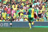 Juan Mata of Manchester United scores what turns out to be the winning goal during the Barclays Premier League match at Carrow Road, Norwich<br /> Picture by Paul Chesterton/Focus Images Ltd +44 7904 640267<br /> 07/05/2016