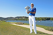 AUSTIN, TX - MARCH 27:  Jason Day of Australia holds the Walter Hagen Cup after winning the World Golf Championships - Dell Match Play at Austin Country Club on March 27, 2016 in Austin, Texas. (Photo by Chris Condon/PGA TOUR)
