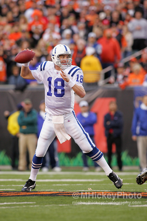 Indianapolis Colts quarterback Peyton Manning seen during action against the Cincinnati Bengals Nov, 20, 2005. The Colts defeated the Bengals 45-37.