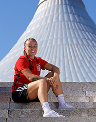 ASTANA, KAZAKHSTAN - Saturday, September 16, 2017: Wales' Natasha Harding poses for a portrait in front of Khan Shatyr Shopping Mall in Astana ahead of the FIFA Women's World Cup 2019 Qualifying Round Group 1 match against Kazakhstan. (Pic by David Rawcliffe/Propaganda)