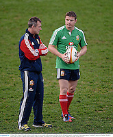 10 June 2013; Brian O'Driscoll, British & Irish Lions, in conversation with assistant coach Rob Howley during the captain's run ahead of their game against Combined Country on Tuesday. British & Irish Lions Tour 2013, Captain's Run, Number 2 Sports Ground, Newcastle, NSW, Australia. Picture credit: Stephen McCarthy / SPORTSFILE