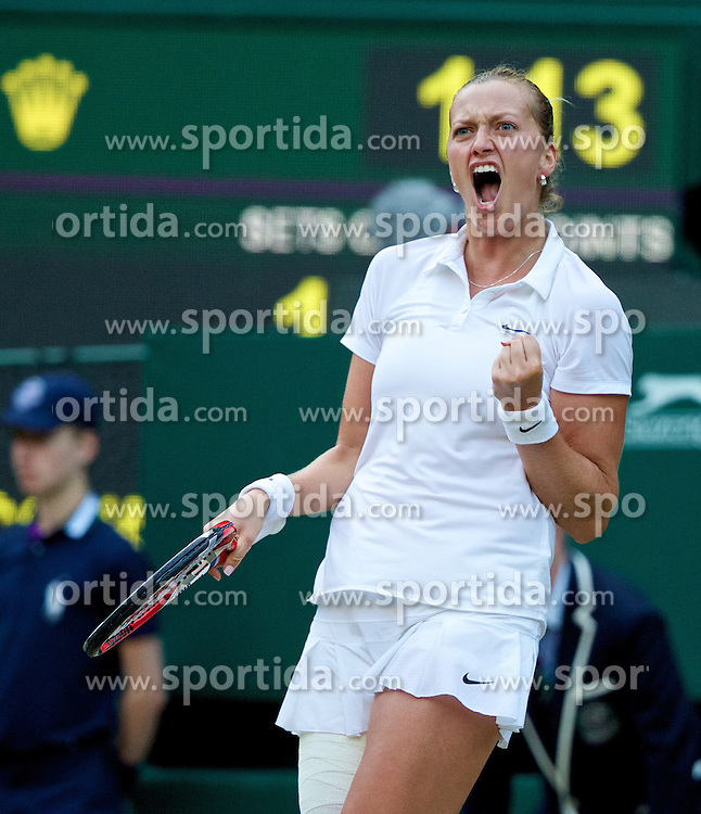 01.07.2014, All England Lawn Tennis Club, London, ENG, WTA Tour, Wimbledon, im Bild Petra Kvitova (CZE) celebrates during the Ladies' Singles Quarter-Final match on day eight // during the Wimbledon Championships at the All England Lawn Tennis Club in London, Great Britain on 2014/07/01. EXPA Pictures &copy; 2014, PhotoCredit: EXPA/ Propagandaphoto/ David Rawcliffe<br /> <br /> *****ATTENTION - OUT of ENG, GBR*****