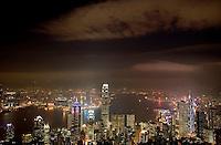 Hong Kong harbor as seen from Victoria's Peak at night. Hong Kong, China. NR. No restrictions.