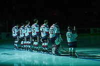 KELOWNA, CANADA - FEBRUARY 17: The starting line up of the Kelowna Rockets stands on the blue line against the Spokane Chiefs on February 17, 2017 at Prospera Place in Kelowna, British Columbia, Canada.  (Photo by Marissa Baecker/Shoot the Breeze)  *** Local Caption ***