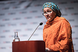 "29 October 2018, Uppsala, Sweden: Amina Mohammed speaks to the ACT Alliance general assembly, during a plenary on ""The role of faith based actors in achieving the 2030 Agenda for Sustainable Development"". The session included speeches by Amina Mohammed, Deputy Secretary General of the United Nations, Carin Jämtin, Director General of Swedish International Development Cooperation Agency, and Swedish deputy Prime Minister Isabella Löwin. Rev. Dr Martin Junge, General Secretary of the Lutheran World Federation moderated the session."