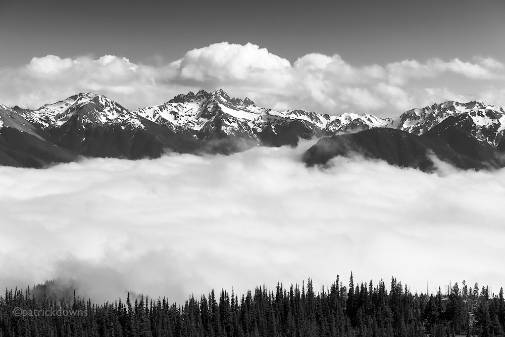 Clouds move in above and below the  summits across from Deer Park. Looking towards Mt. Deception, 7788' elevation. Olympic National Park WA