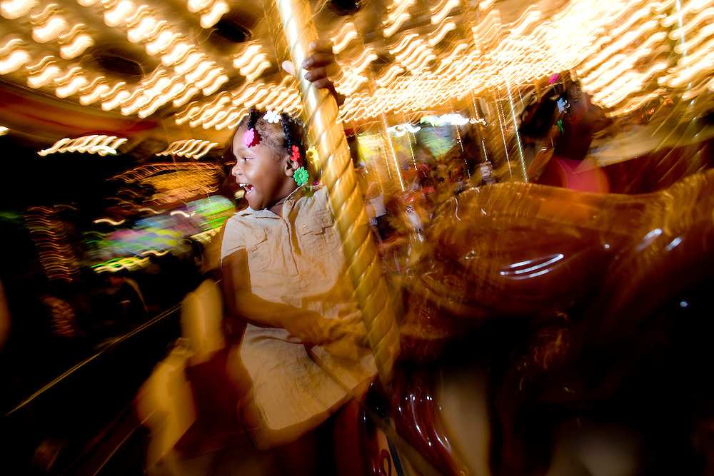 Mariah Maxwell, 4, rides the carousel at the California State Fair on September 3, 2007.
