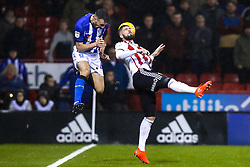 Morgan Fox of Sheffield Wednesday challenges Kieron Freeman of Sheffield United - Mandatory by-line: Robbie Stephenson/JMP - 09/11/2018 - FOOTBALL - Bramall Lane - Sheffield, England - Sheffield United v Sheffield Wednesday - Sky Bet Championship