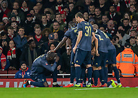 Football - 2018 / 2019 FA Cup - Fourth Round: Arsenal vs. Manchester United <br /> <br /> Romelu Lukaku (Manchester United) pretends to take the team photo after Alexis Sanchez (Manchester United) scores at The Emirates Stadium.<br /> <br /> COLORSPORT/DANIEL BEARHAM