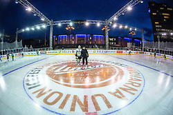 Ales Music and Fabian Dahlem at first practice before Ice Fest 2014 on Repulic Square for Winter Classic of HDD Telemach Olimpija called Pivovarna Union Ice Fest 2014, on December 15, 2014 on Republic Square, Ljubljana, Slovenia. (Photo By Matic Klansek Velej / Sportida.com)