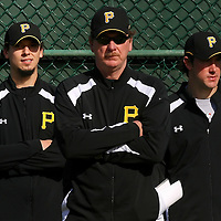 BRADENTON, FL -- January 13, 2010 -- Pittsburg Pirates pitching coach Joe Kerrigan stands with pitchers Charlie Morton, left, and Ross Ohlendorf as they watch a bullpen session during workouts at the Pirate City Spring Training Headquarters in Bradenton, Fla., on Wednesday, January 13, 2010.  (Chip Litherland for the Chip Litherland for the Pittsburgh Tribune-Review)