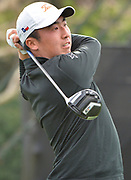 Doug Ghim, from the University of Texas, tees off on the second hole. College players were paired with tour pros during the Collegiate Showcase during the Genesis Open at Riviera Country Club. The low scoring college player will get an exemption to play in the tournament that begins on Thursday. Los Angeles, CA 1/025/2018 (Photo by John McCoy)
