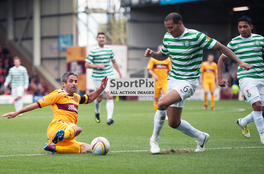 Keith Lasley in action with Kelvin Wilson. The Clydesdale Bank Scottish Premier League, Season 2012/13, Motherwell v Celtic, Fir Park, 29 September 2012 Angela Isac | StockPix.eu