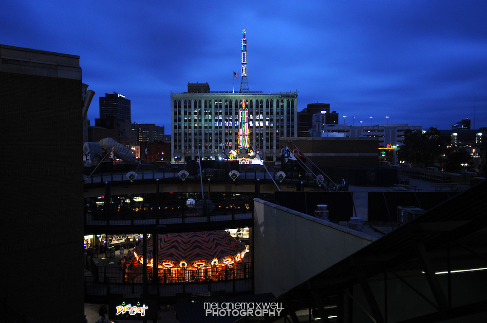 View of the Fox Theater and Comerica Park carousel from above in Detroit, Michigan on June 15, 2010.