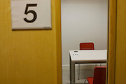 A UK Border Agency's immigration detention interview room number 5 at Heathrow Airport's Terminal 5. .