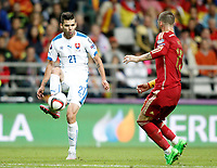 Spain's Sergio Ramos (r) and Slovakia's Michal Duris during 15th UEFA European Championship Qualifying Round match. September 5,2015.(ALTERPHOTOS/Acero)