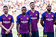 The new four FC Barcelona players for 2018/2019 team, Arthur Henrique from Brasil, Malcom Filipe from Brasil, Clement Lenglet from France and Arturo Vidal from Chile during the Joan Gamper trophy game between FC Barcelona and CA Boca Juniors in Camp Nou Stadium at Barcelona, on 15 of August of 2018, Spain, Photo Xavier Bonilla / SpainProSportsImages / DPPI / ProSportsImages / DPPI