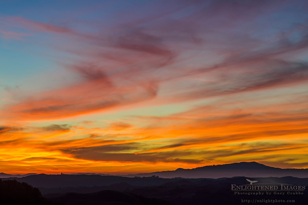 Cirrus clouds at sunset over the East Bay hills, Califronia