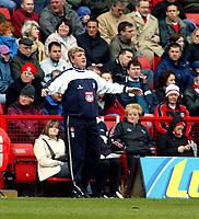 Photo. Chris Ratcliffe<br />Charlton v Birmingham. FA Premiership. 19/04/2003<br />Manager of Birmingham Steve Bruce during the win that should ensure Premiership survival for his team