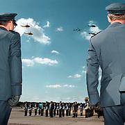 Commando overdracht Manderfeld vliegbasis Soesterberg, luchtparade vliegtuigen, en helicopters