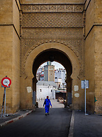 CASABLANCA, MOROCCO - CIRCA APRIL 2017: Woman walking over one of the entrances of the Medina in  Casablanca