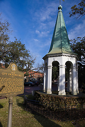 Old City Exchange Bell, with historical marker, Bay Street, Savannah, Georgia, United States of America.