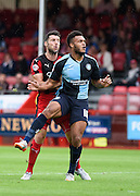 Aaron Amadi-Holloway watches his shot hit the back of the net while the linesman raises the flag for offside during the Sky Bet League 2 match between Crawley Town and Wycombe Wanderers at the Checkatrade.com Stadium, Crawley, England on 29 August 2015. Photo by David Charbit.
