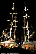 Newport Bucket Regatta participants at the Newport Shipyard dock at night