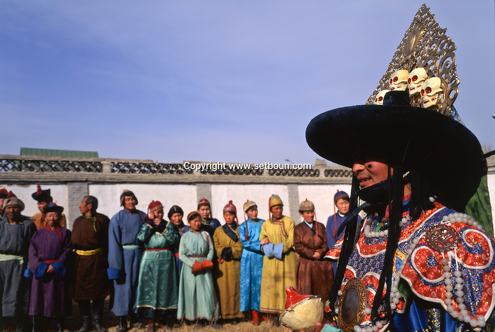 Mongolia. Ulaanbaatar. A Tsam dance during the shooting of a film in the Tchoijin Lamyn temple.
