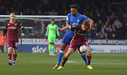 Rhys Bennett of Peterborough United gets to grips with Eoin Doyle of Bradford City - Mandatory by-line: Joe Dent/JMP - 01/12/2018 - FOOTBALL - ABAX Stadium - Peterborough, England - Peterborough United v Bradford City - Emirates FA Cup second round proper