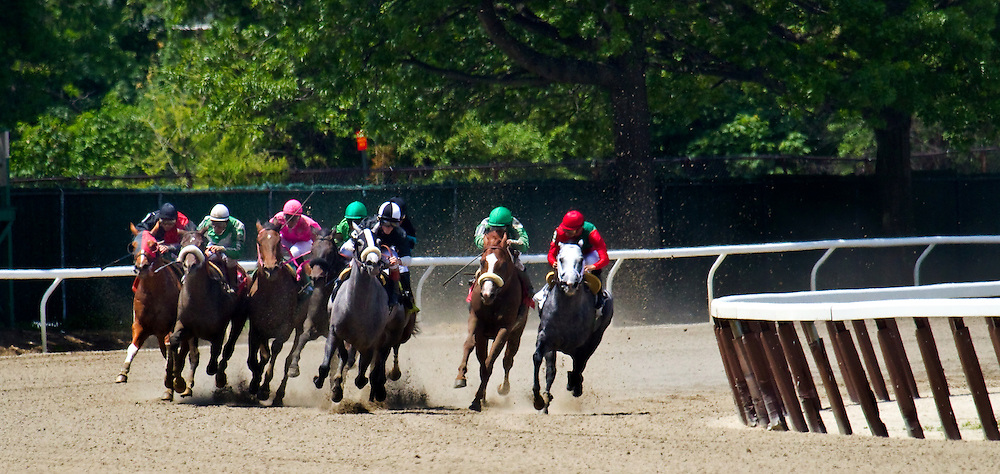 """First of seven. This series shows just how dangerous riding can be. Jose Espinoza is on the far outside with """"Prix-de-Karakorum"""". His horse is about to go down after he was clipped by the horse immediately outside of him."""