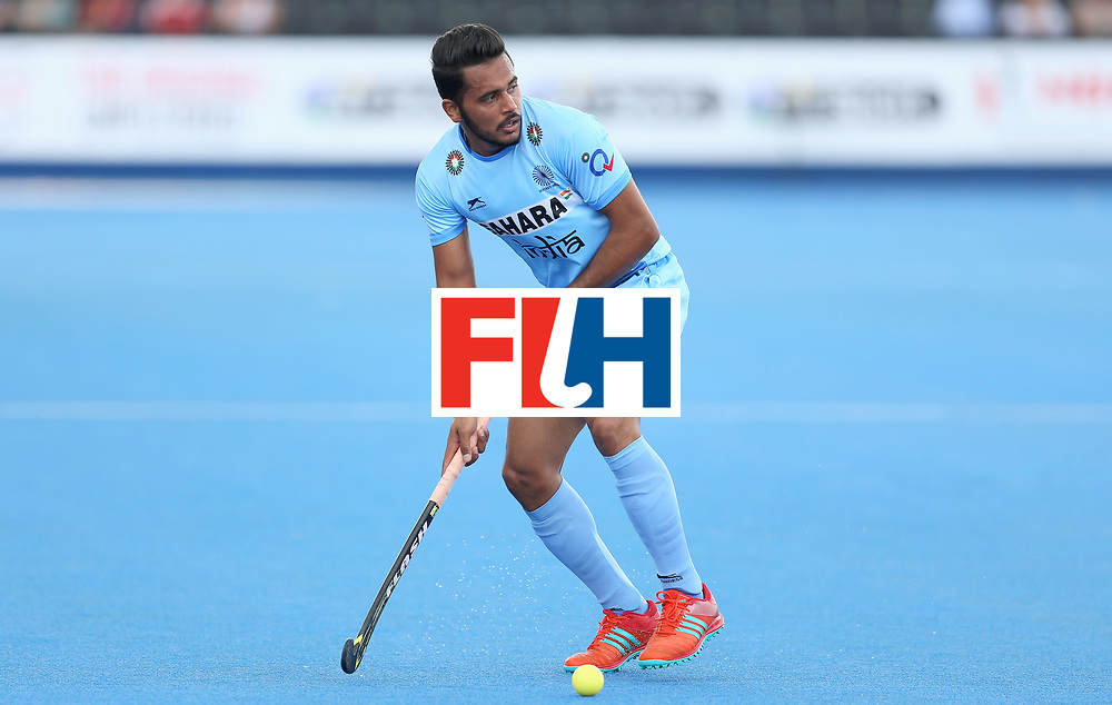 LONDON, ENGLAND - JUNE 24: Harmanpreet Singh of India in action during the 5th-8th place match between Pakistan and India on day eight of the Hero Hockey World League Semi-Final at Lee Valley Hockey and Tennis Centre on June 24, 2017 in London, England. (Photo by Steve Bardens/Getty Images)
