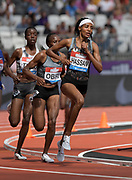 Jul 21, 2019; London, United Kingdom; Sifan Hasasn (NED) leads Hellen Obiri (KEN) in the women's 5,000m during the London Anniversary Games at London Stadium at  Queen Elizabeth Olympic Park. Obiri won in 14:20.36 and Hassan placed third in 14:22.12.