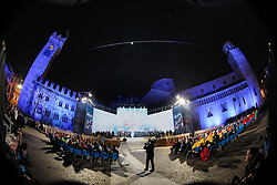 20.02.2013, Piazza Duomo, Trento, ITA, FIS Weltmeisterschaften Ski Nordisch, Eroeffnungsfeier, im Bild Uebersicht auf die Piazza doumo // Overview of the Piazza Duomo during the Opening Ceremony of the FIS Nordic Ski World Championships 2013 at the Piazza Duomo, Trento, Italy on 2013/02/20. EXPA Pictures © 2013, PhotoCredit: EXPA/ Juergen Feichter