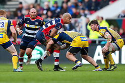 Tom Varndell of Bristol Rugby is tackled - Rogan Thomson/JMP - 26/12/2016 - RUGBY UNION - Ashton Gate Stadium - Bristol, England - Bristol Rugby v Worcester Warriors - Aviva Premiership Boxing Day Clash.