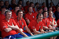 NEWPORT, WALES - Saturday, May 25, 2019: Delegates watch a practical demonstration during day two of the Football Association of Wales National Coaches Conference 2019 at Dragon Park. (Pic by David Rawcliffe/Propaganda)