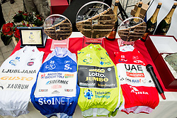 Jerseys before trophy ceremony after the 5th Time Trial Stage of 25th Tour de Slovenie 2018 cycling race between Trebnje and Novo mesto (25,5 km), on June 17, 2018 in  Slovenia. Photo by Vid Ponikvar / Sportida